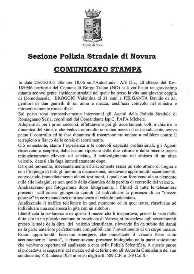 COMUNICATO STAMPA INCIDENTE MORTALE DEL 25.05.2015