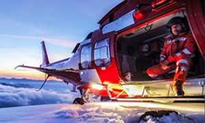 corta elicottero rega notte neve