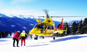 corta elicottero soccorso neve